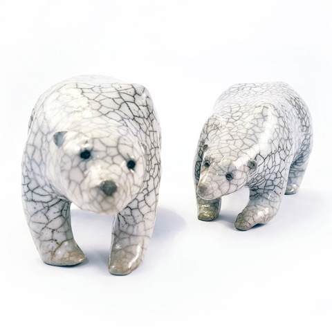 Wilhelmiina Drummond raku fired ceramic polar bears