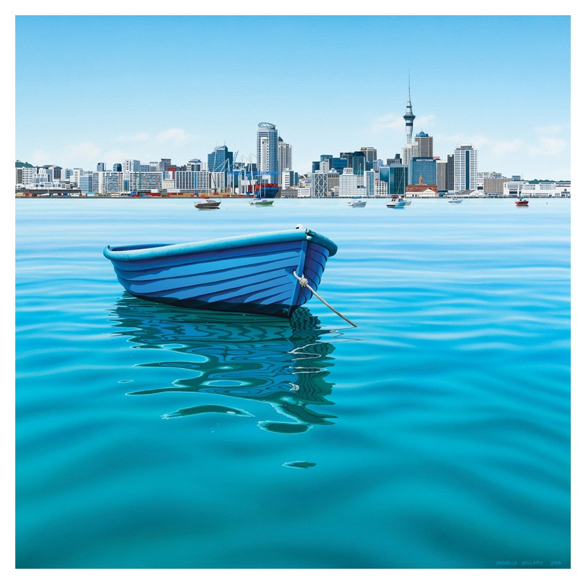 Parnell Gallery Auckland Artwork for sale Blue Dinghy Day, NZ Michelle Bellamy