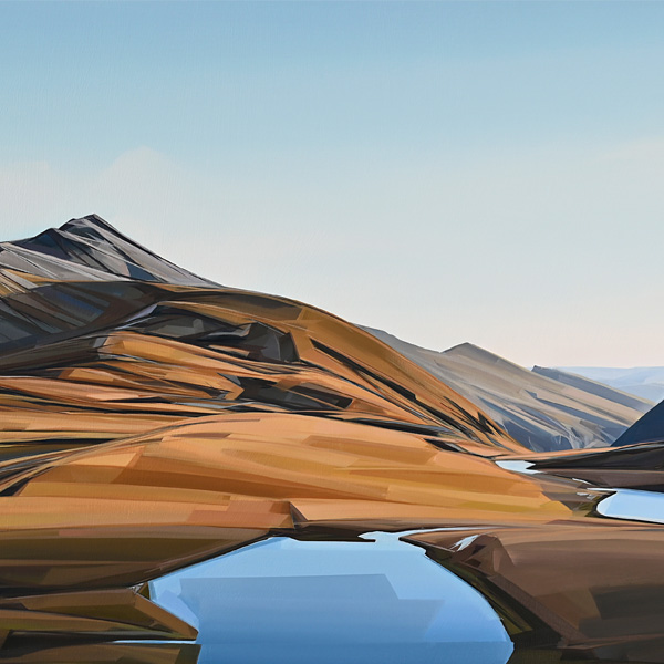 Caroline Bellamy, Painting - Evening Light at Wye Creek - Oil on Board, Parnell Gallery Auckland NZ