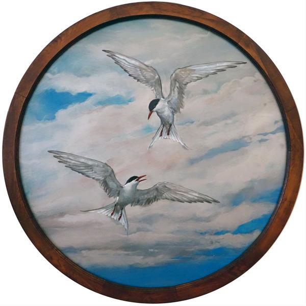 Matt Gauldie painting Sky Dance Terns Solid Wood Frame Tondo