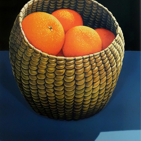 Parnell Gallery Auckland Artwork for sale Oranges in a Seagrass Basket Limited Edition Print by Michael Smither