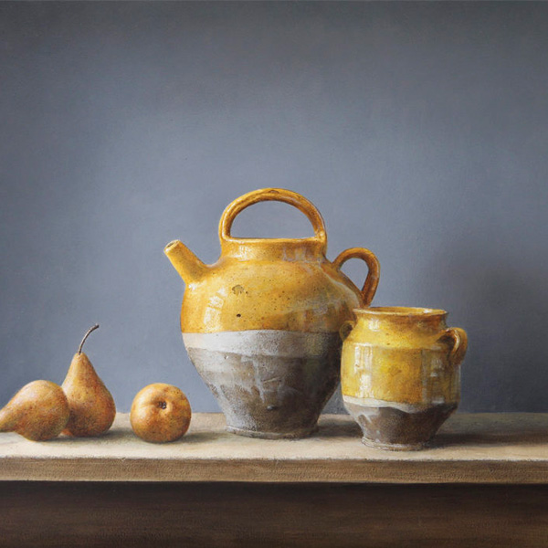 Neil Driver still life painting of pears and honey pots acrylic on board NZ