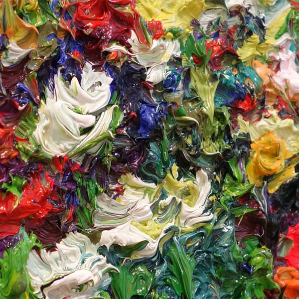 Peter Hackett Auckland artist painting detail thick paint flowers Parnell Gallery NZ