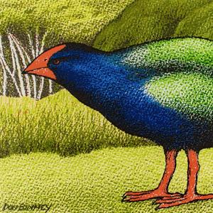 Parnell Gallery Auckland Artwork for sale Motutapu Takahe Release III by Don Binney