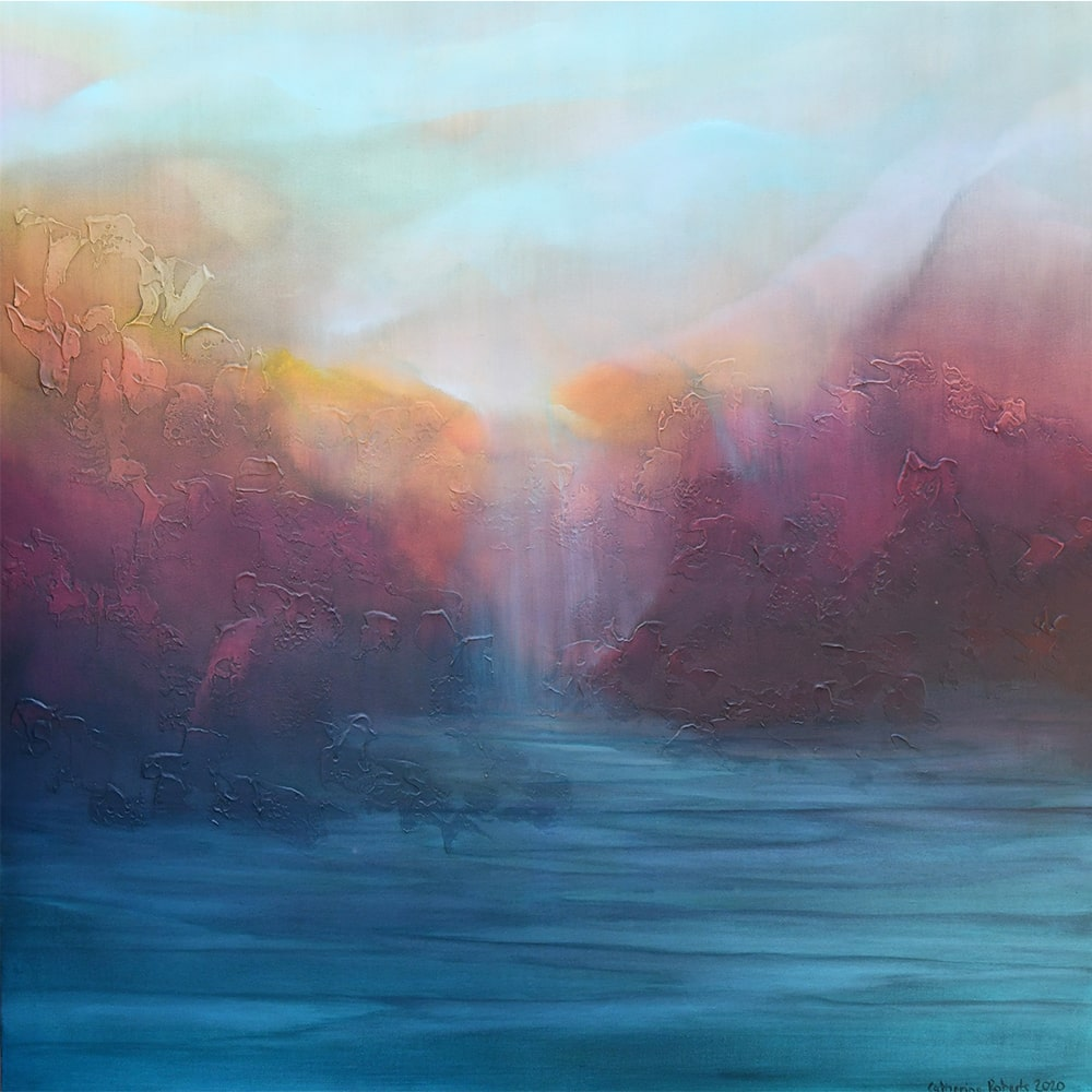 NZ artist Catherine Roberts abstract landscape painting mixed media on canvas at Parnell Gallery
