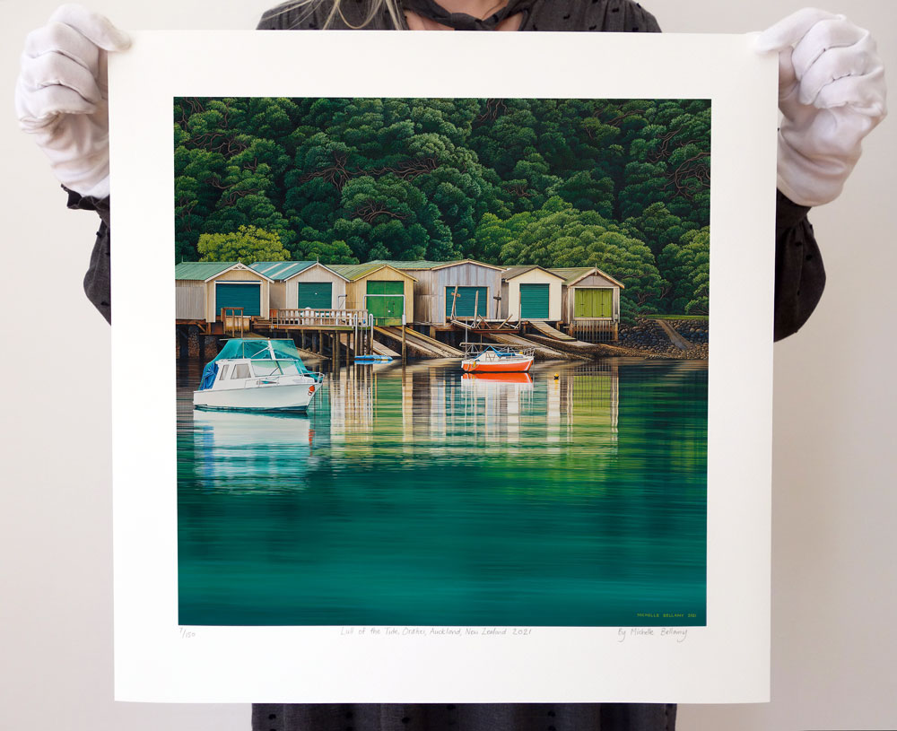 Lull of the Tide Orakei limited edition giclee print for sale by New Zealand artist Michelle Bellamy