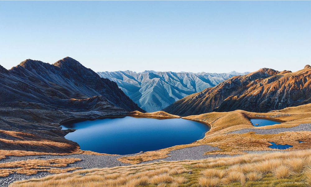 Michelle Bellamy Raglan Range Beyond the Tarn Limited edition Lanscape Prints for sale at Parnell Gallery