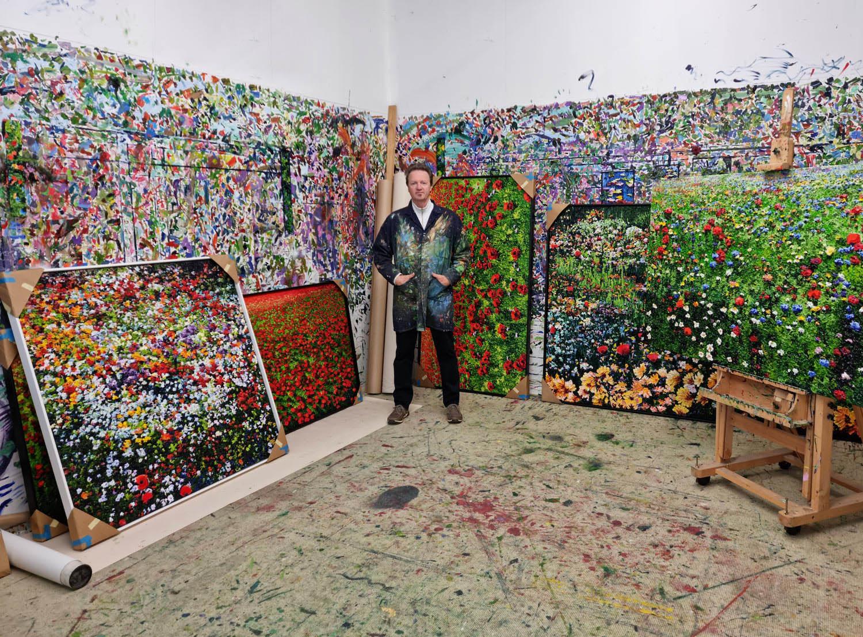 Artist Peter Hackett in his Auckland studio2021